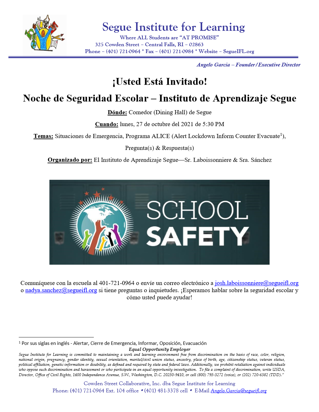 Noche de información sobre la seguridad escolar